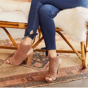 LC LAUREN CONRAD Cutout Taupe Heeled Ankle Booties